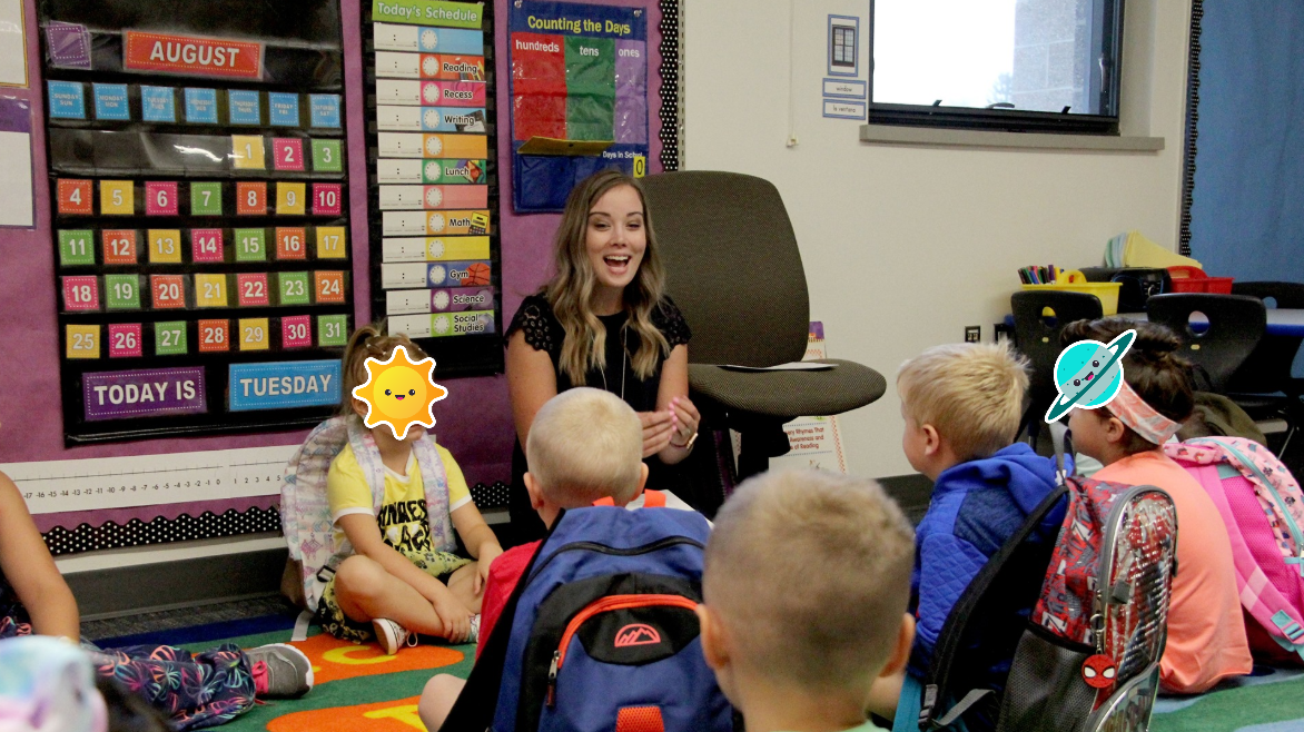Image of Kayla teaching in her classroom.