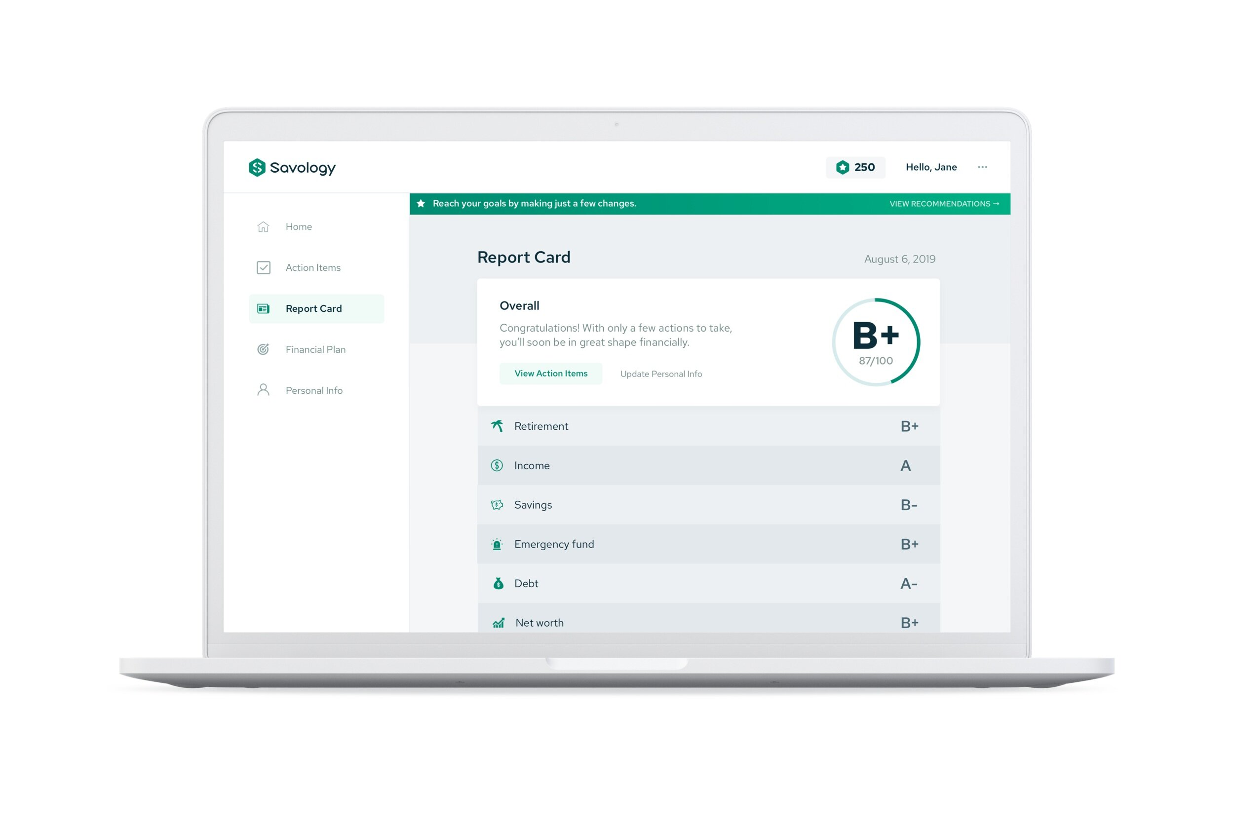 An image of a financial report card from savology.com
