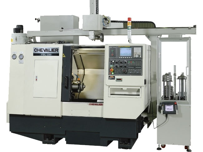 """FBL-230 w/ Gantry $135,950 - Chuck Bar/Capacity: 8"""" / 2.0""""Max Swing/ Cutting Diameter/ Length: 21.6""""/ 11.8"""" /16""""HP: 20RPM: 3,500Control: Oi-TFAccessories & Options: Box ways, roller thrust bearings, 10-station servo turret (1"""" OD shank), 300 PSI high pressure coolant, oil skimmer, conveyor, Gantry loader with 10-station part stacker"""