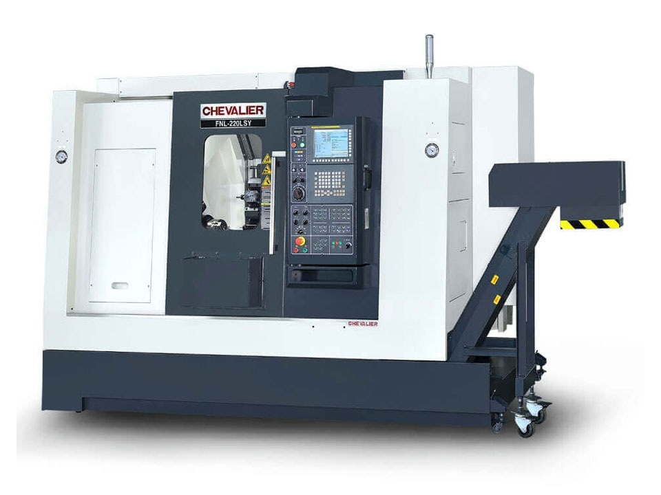 """FNL-220LSY $139,500 - Chuck Bar/Capacity: 8"""" main / 6"""" subMax Swing/ Cutting Diameter/ Length: 24.4""""/ 10.6"""" /20.1""""HP: 20RPM: 4,500Control: Oi-TFAccessories & Options: Manual Guide I, BMT45, 12-station live turret, chips conveyor, tool pre-setter, parts catcher"""