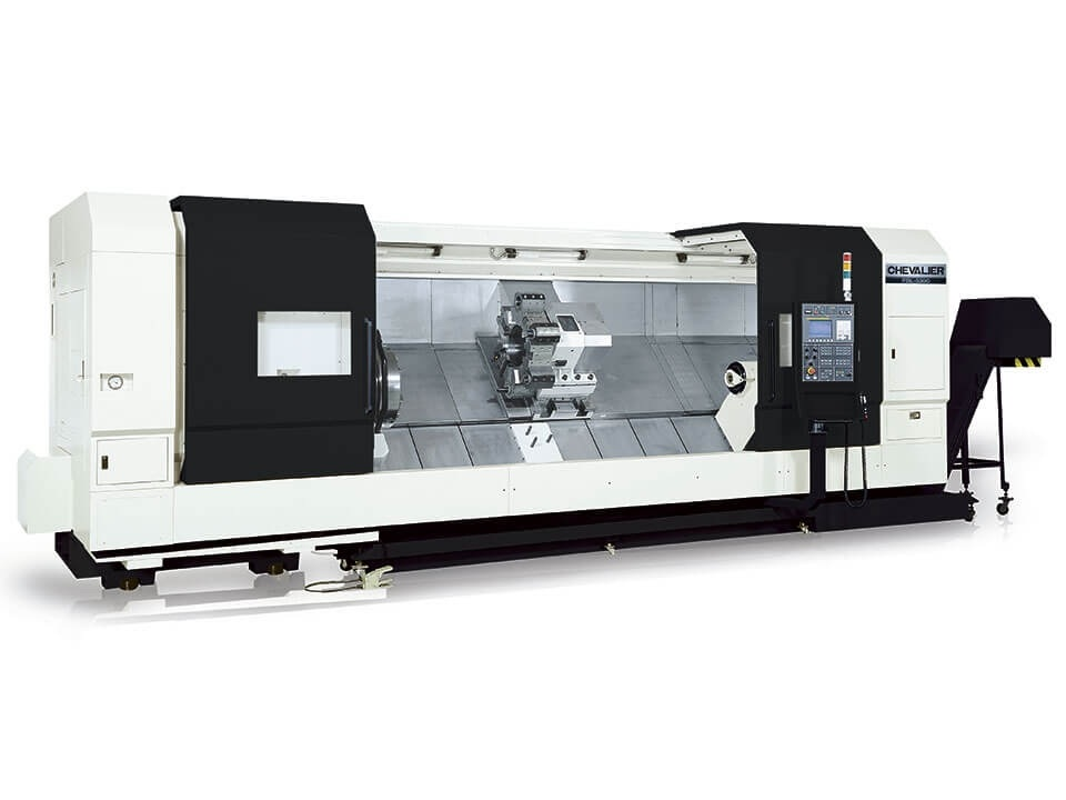 """FBL-530C $355,000 - Chuck Bar/Capacity: No Chuck 12.5"""" spindle boreMax Swing/ Cutting Diameter/ Length: 40""""/ 37"""" /118""""HP: 60RPM: 500 3 speed gearheadControl: Oi-TD, 10.4"""" LCDAccessories & Options: Slant bed, programmable tailstock, 12-station turret, chips conveyor, oil skimmer"""