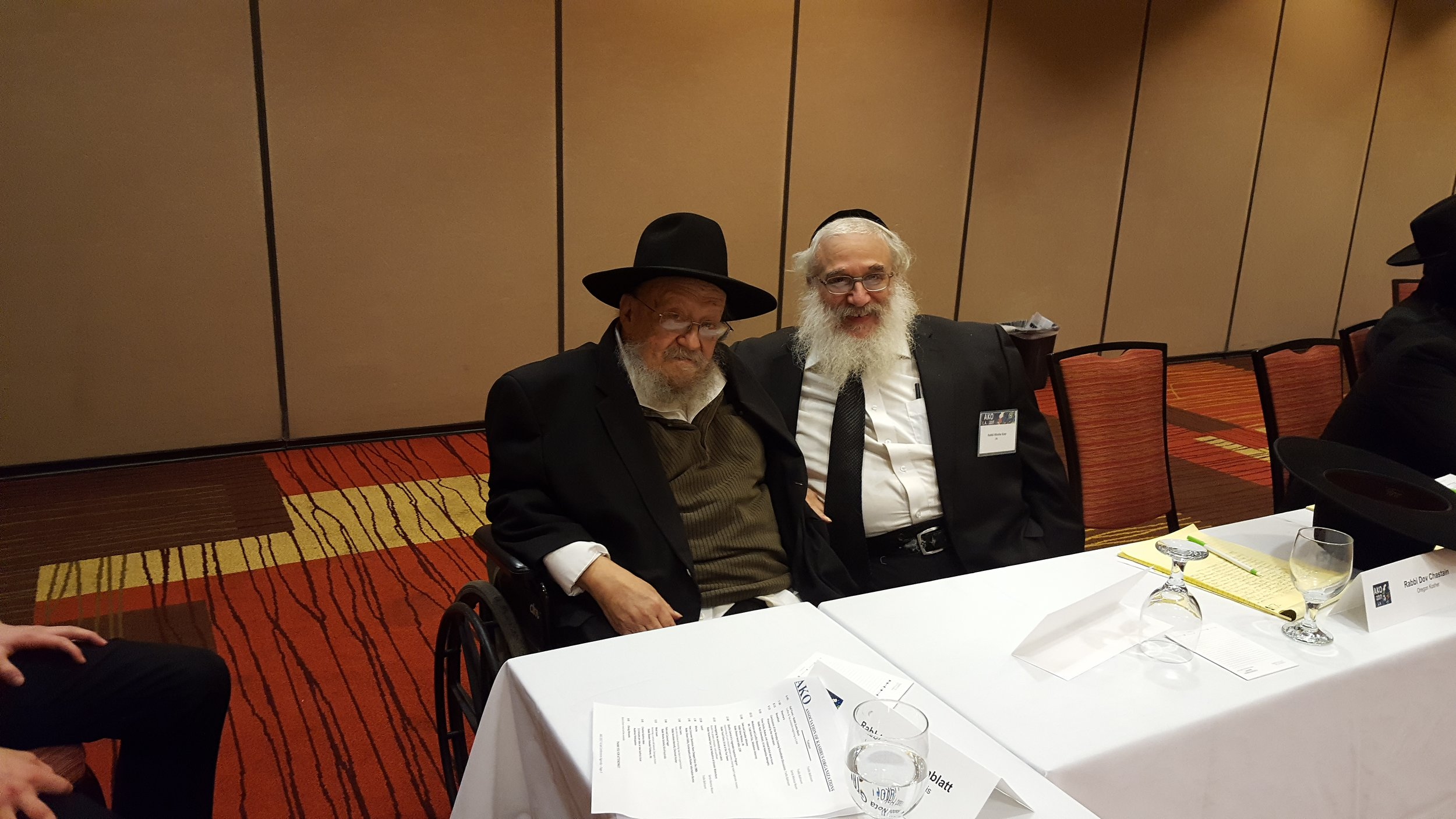 Reb Chaim Goldzweig and Rabbi Moshe Katz at the AKO Convention Oxnard CA February 2017.jpg