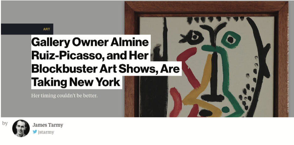 Bloomberg -  Gallery Owner Almine Ruiz-Picasso, and Her Blockbuster Art Shows, Are Taking New York