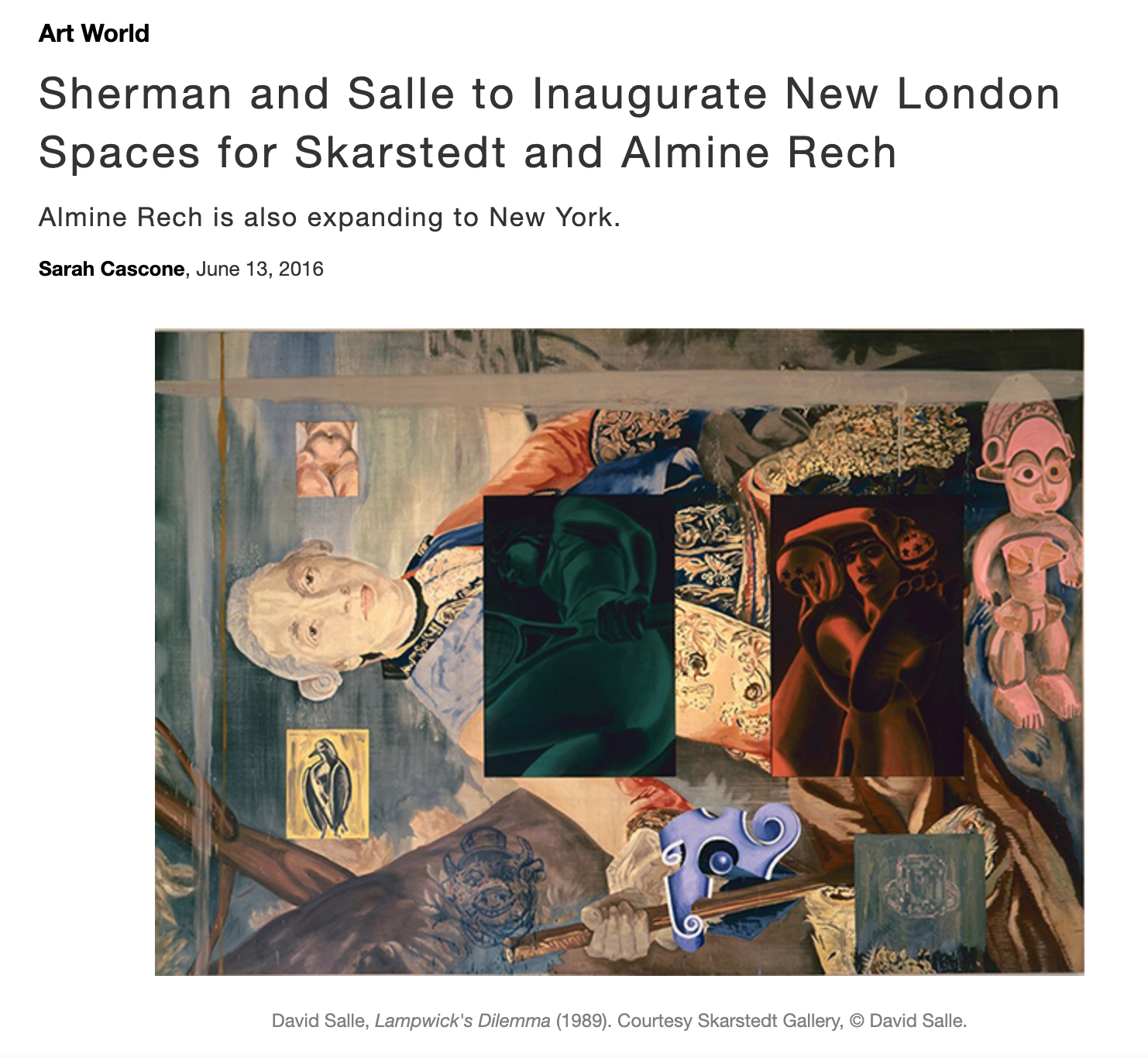 ArtNet News  - Sherman and Salle to Inaugurate New London Spaces for Skarstedt and Almine Rech