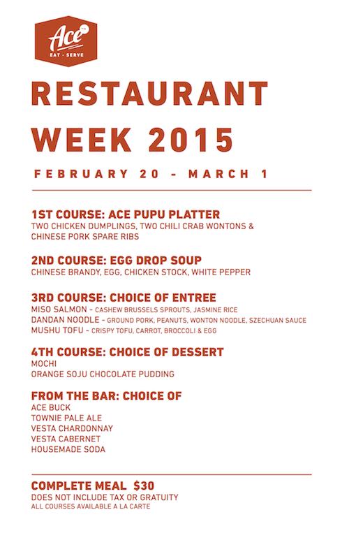 Check out Ace Eat Serve's Restaurant Week Menu!