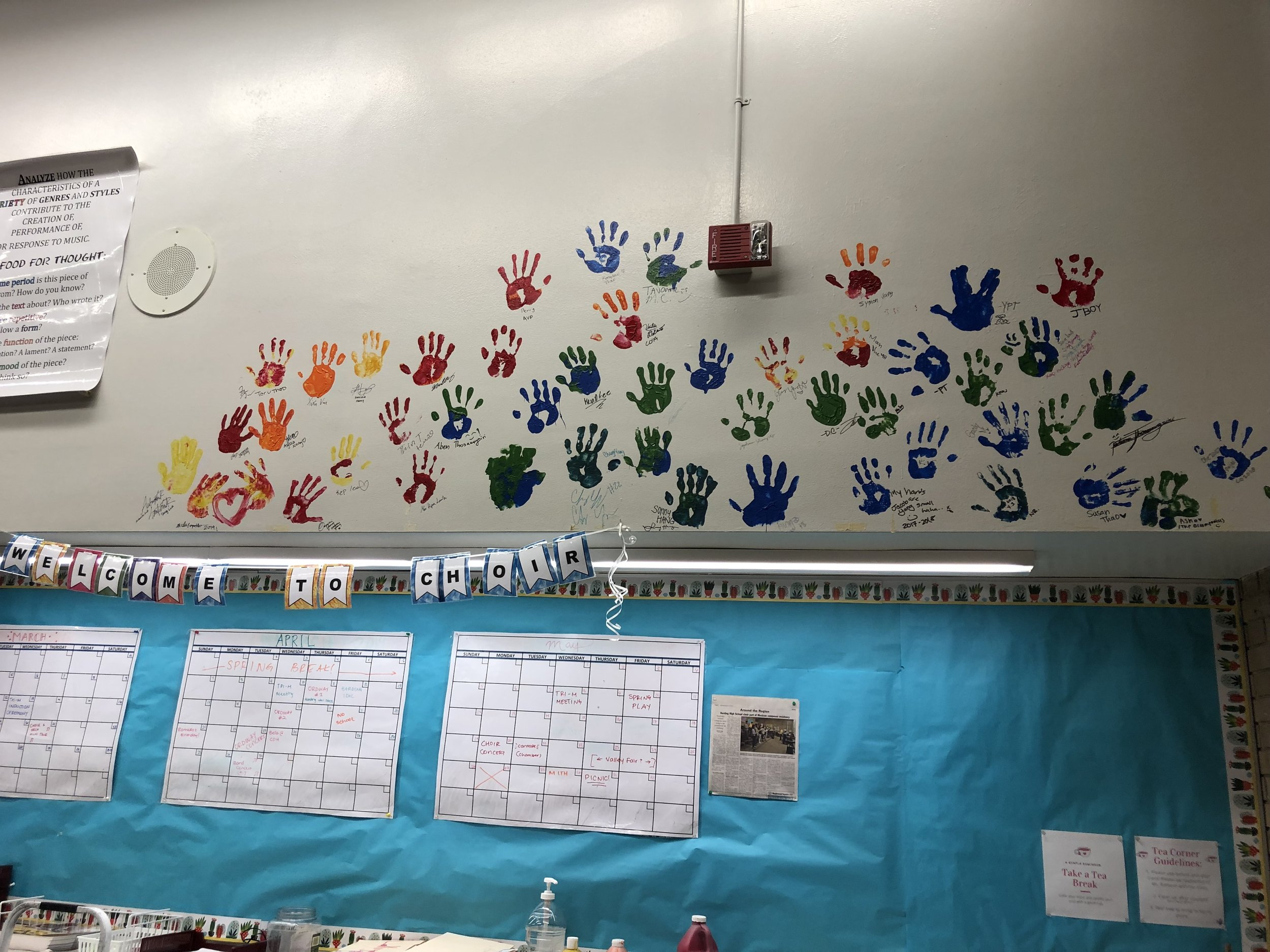 Handprints of seniors from 2018 and 2019.