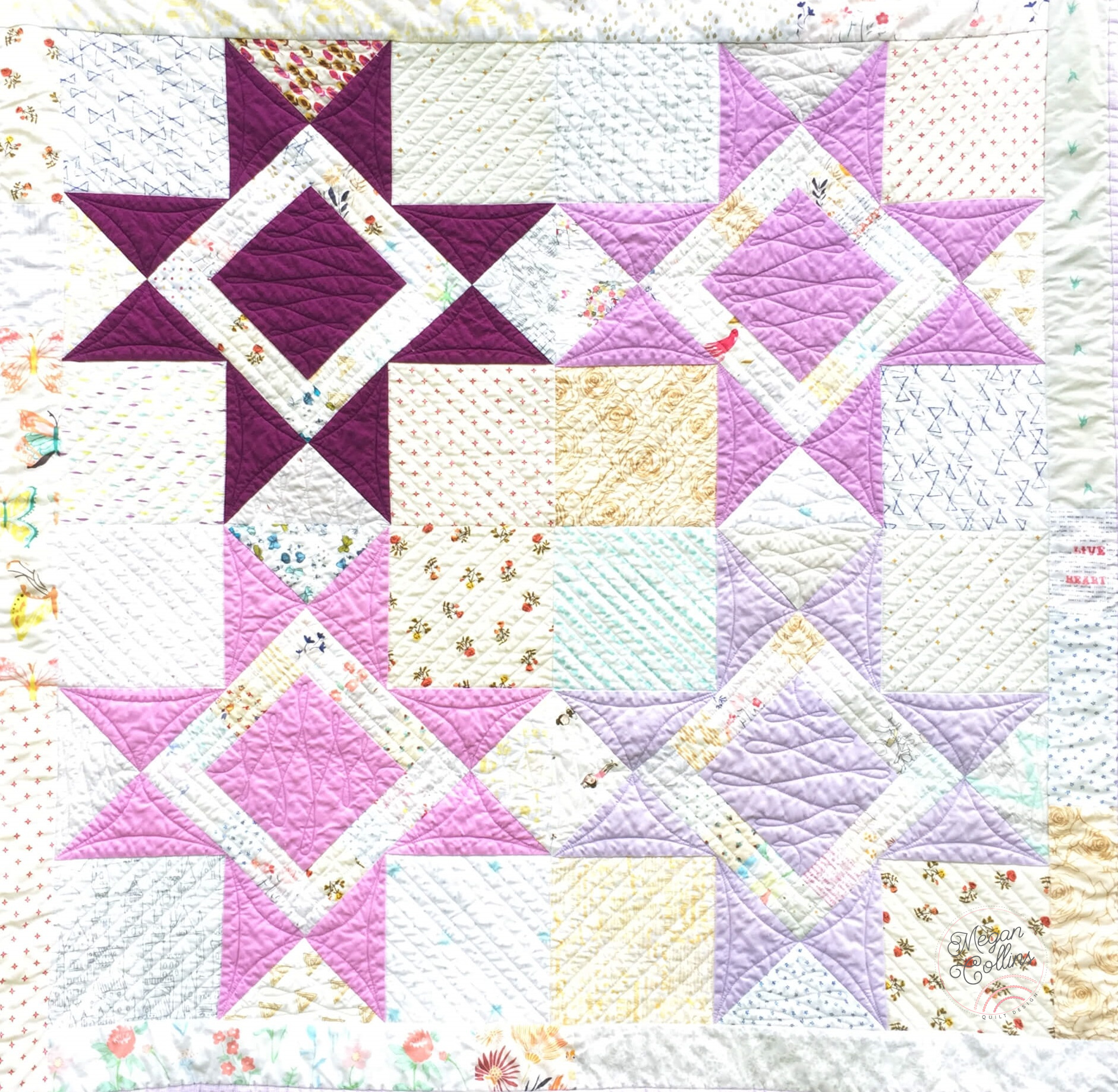 purple scrappy variable star quilt full view