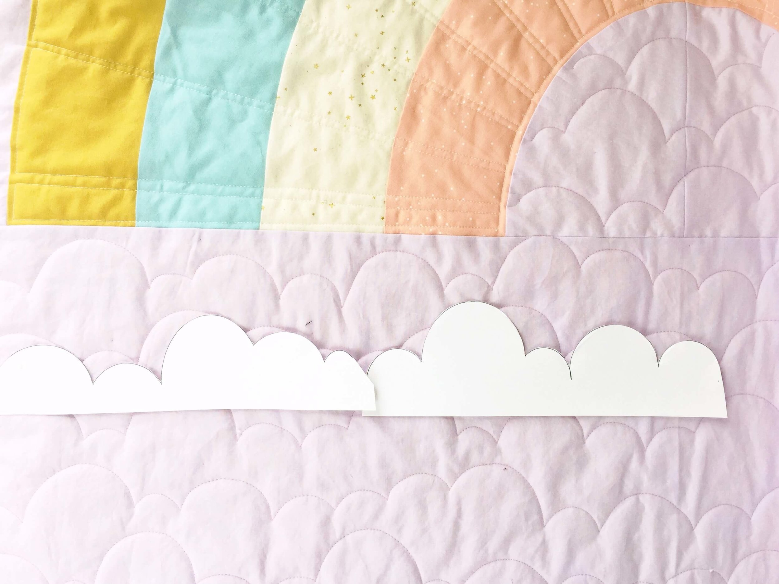Cloud Quilting on Retro Rainbow Quilt