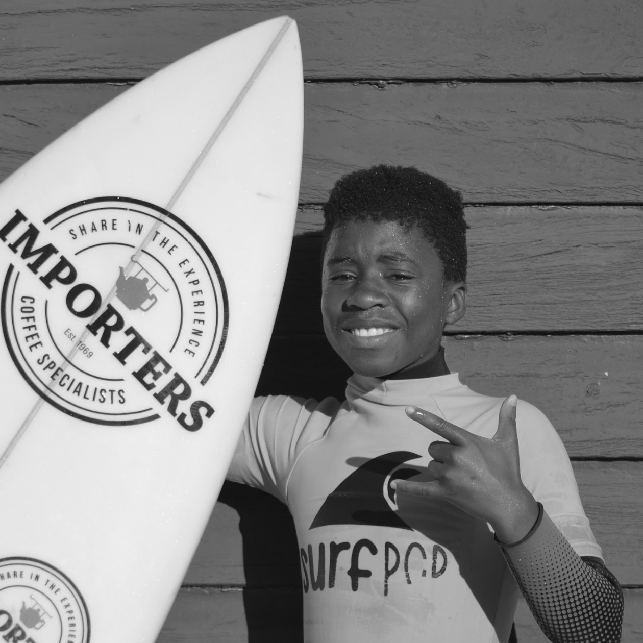 """I like surfing so much and I really like Surfpop! I feel free when I am with Surfpop. If you like you can call Surfpop a 'surf family' or you can say 'Surfpop we like it.' One day I want to be a pro surfer. I want everyone to recognise me as a surfer boy, yes!!!"""