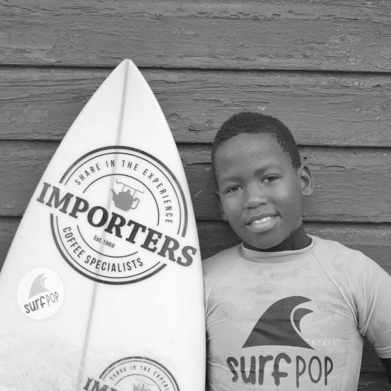 """I like surfing because I can ride a lot of different waves. When I am in the water I feel like a fish. My favourite surfboards are longboards and fishtails. Surfpop is like a second family to me and I like the classroom because it helps me at school. """