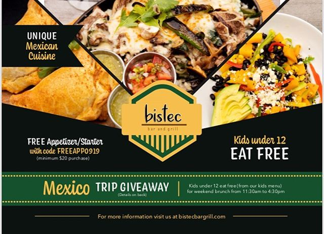 September is the month of promotions here at Bistec! The latest? Kids eat FREE for weekend brunch! So make those #brunch plans with the fam and don't forget that we are giving away 4 trips to MEXICO this month! Do not miss out on this month full of crazy deals—and guess what? There are more to come! 👏 Note: kids must be age 12 or younger and must order off the kids menu. . . . #kidsmenu #kidseatfree #kidseatfreechicago #promo #freetrip #mexico #triptomexico #mexicovacation #bistec #bistecbargrill #chicagoinfluencer #lifestylechicago #chicagoeats #chicagodrinks #chicagorestaurants #chicago #lincolnparkchicago #foodie #tastyfood #mexicanfood