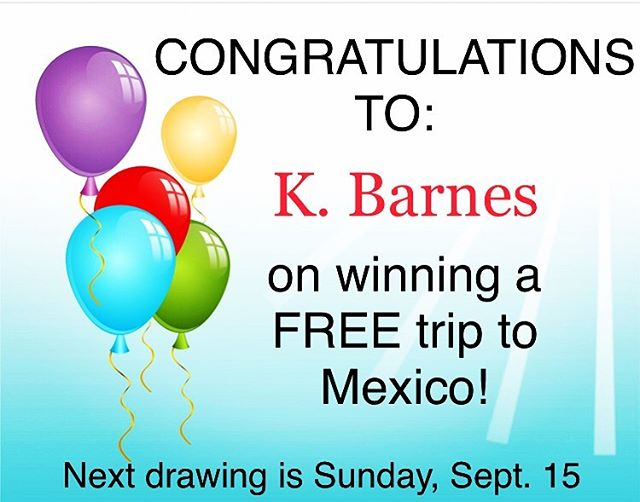 Congratulations to our first winner, K. Barnes! Guess what? You can win too! Come to Bistec Bar and Grill and enter for your chance to win a FREE trip to Mexico 👏 One entry per table so come in as often as you can before the end of September to better your odds. . We've got 3 more Sundays and three more trips to win! And while you're at it, get a free appetizer with a purchase of $20 or over. You can't lose! . . . #bistecbargrill #monday #win #winafreetrip #deal #save #sunday #lifestylechicago #mondaymotivation #lincolnparkchicago #chicagoland #chicagoeats #deliciousfood #mexicanfood #lunch #bistecbargrill #drinkchicago #grilling #appetizers #chicagofoodie #foodie #lunchtime #chicago #dinnerdate #workweeklunch #yum