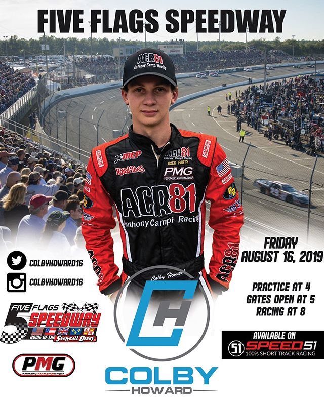 Good luck this Friday night to PMG driver @colbyhoward16 as he takes on round 3 of the Allen Turner Pro Late Models at Five Flags Speedway! #mytrackmyroots