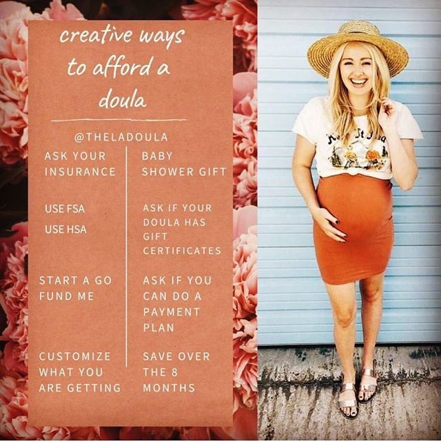 Love this from @theladoula! Great ways to help pay for your birth or postpartum doula! We all deserve the help and support of a doula!