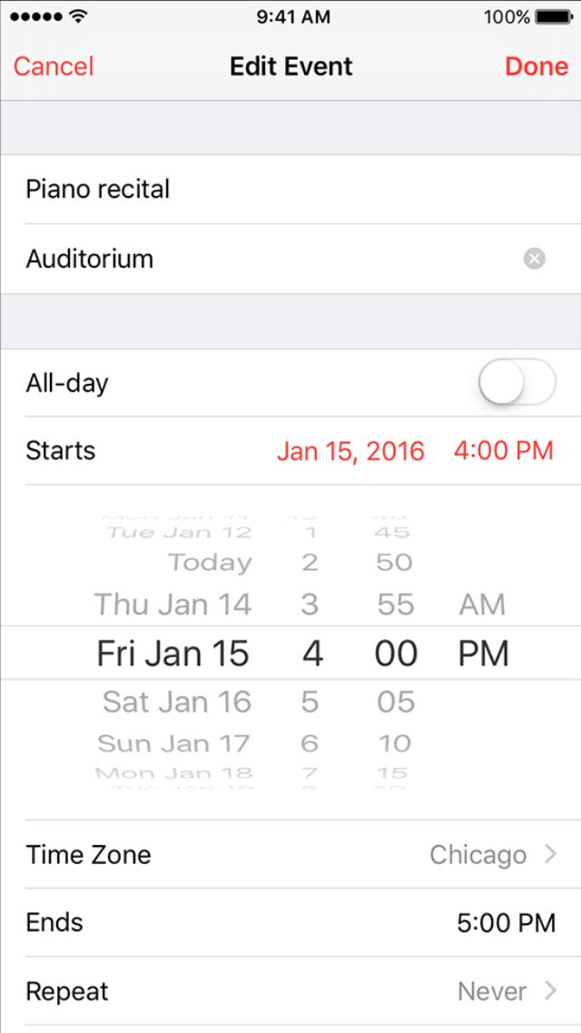Adding an event in iOS Calendar