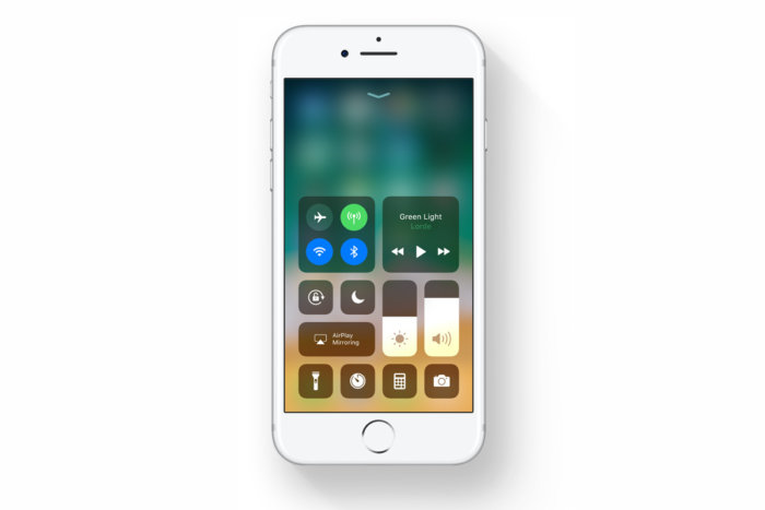 iOS's new control center, a pretty collection of  squircles