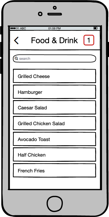 Food and drink menu, 1 in cart
