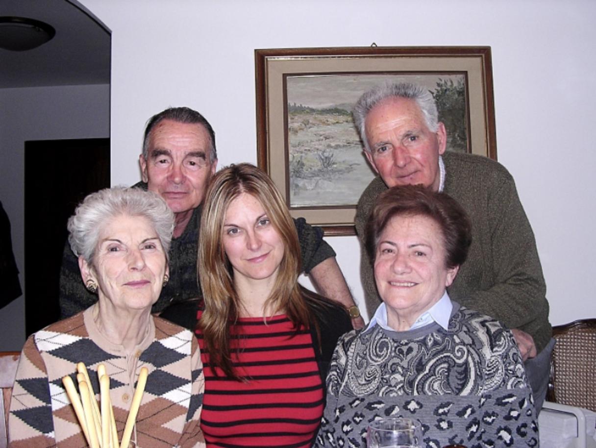 Pictured zio Mario, zio Livio, zia Clara, Paola, zia Dina Taken in Monfalcone about 12 years ago