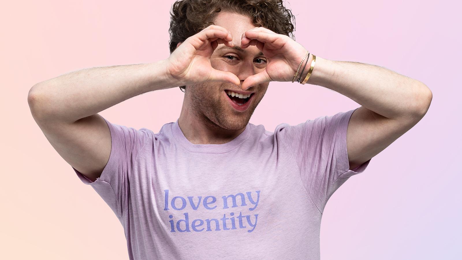 Alt Pronouns Love My Identity Tee in Lilac