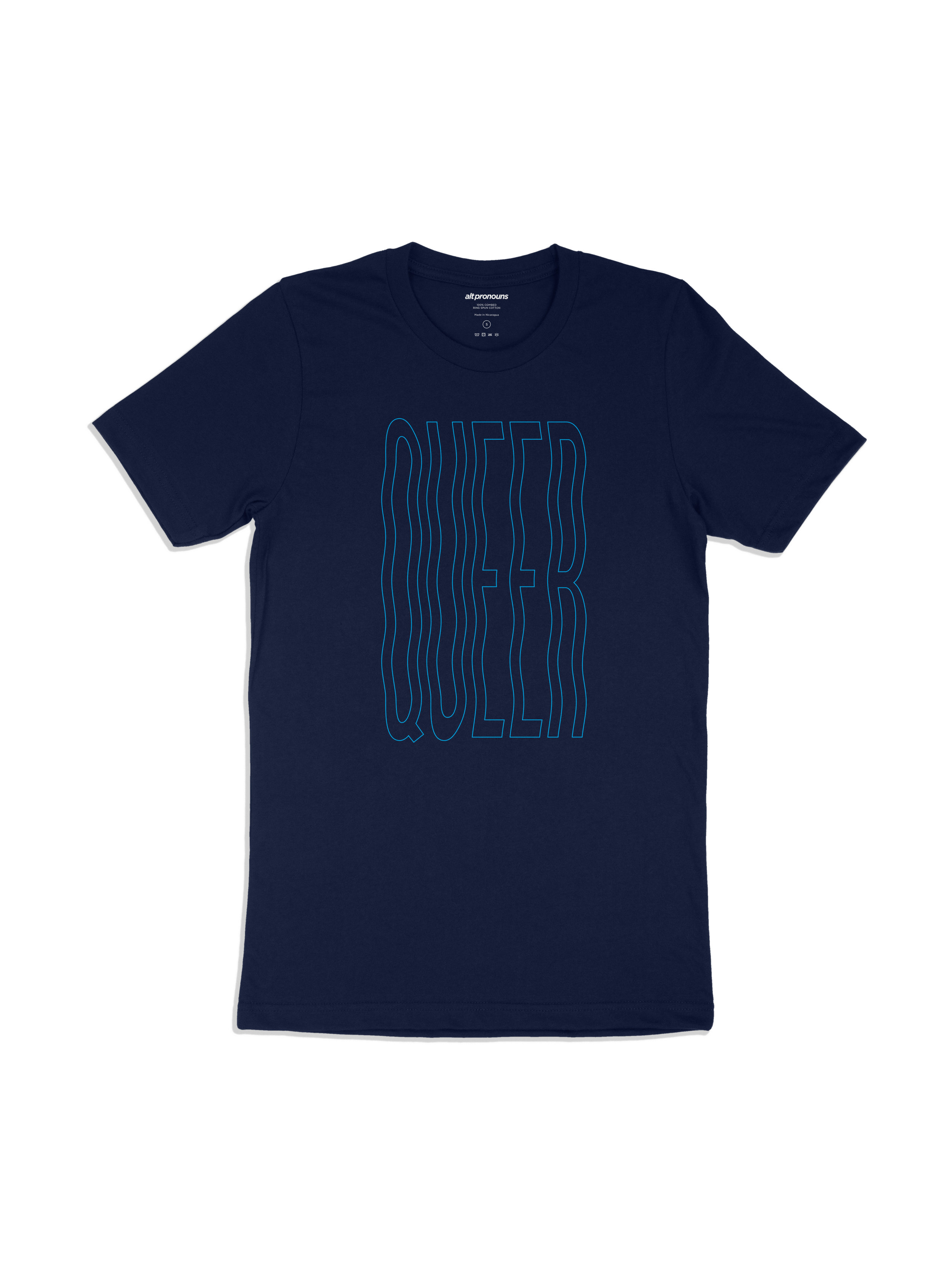 Alt Pronouns Queer Vibes Tee in Navy