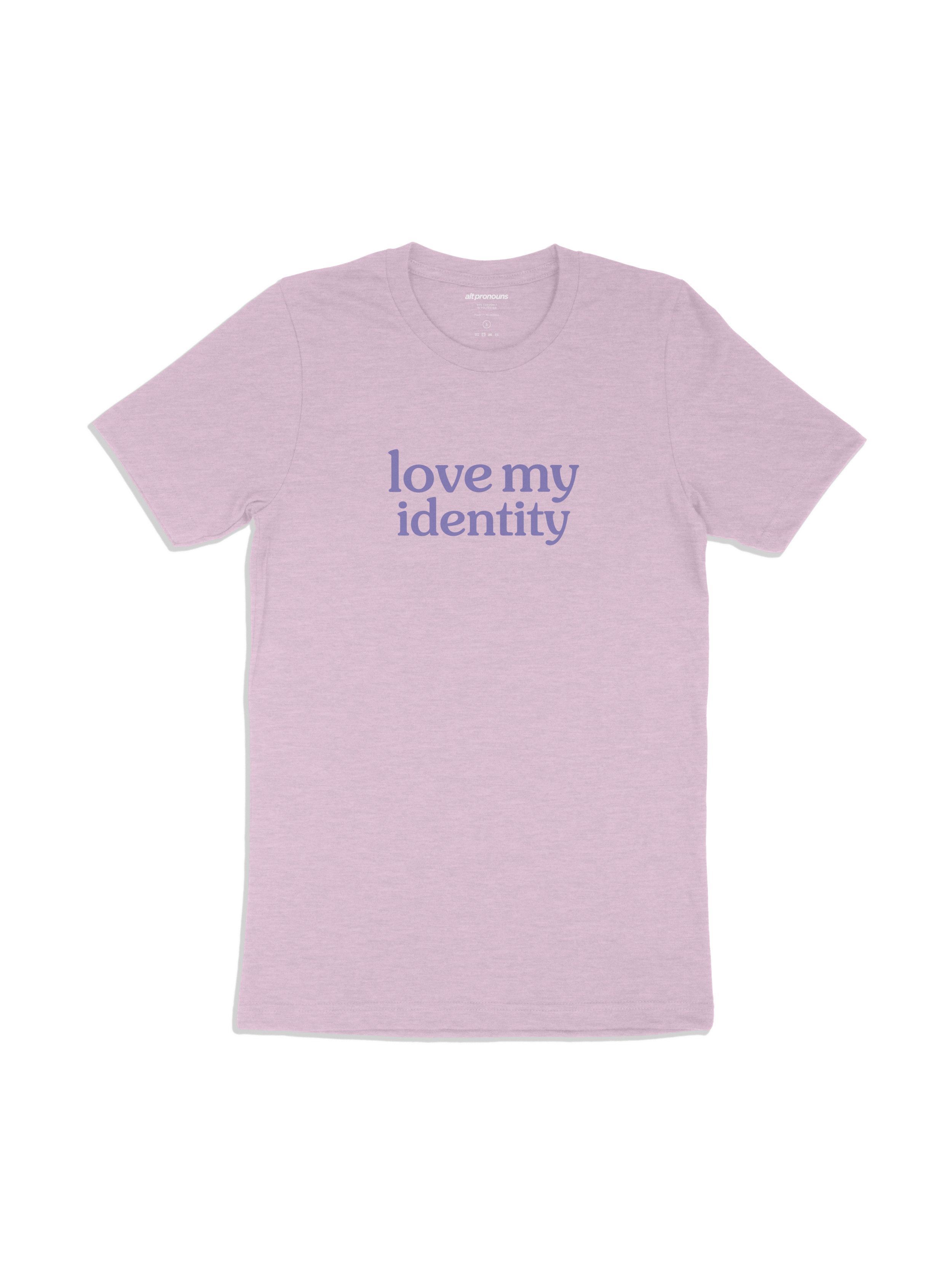 Alt Pronouns Love My Identity Tee in Lilac