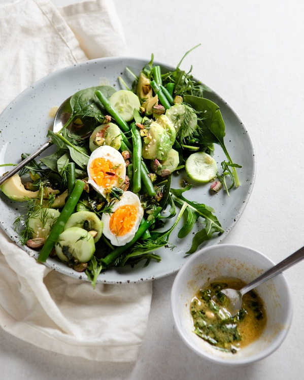 Soft-Boiled Egg and Green Salad Image