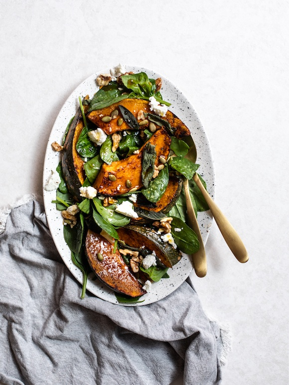 Caramelised Pumpkin, Walnut and Goat's Cheese Salad