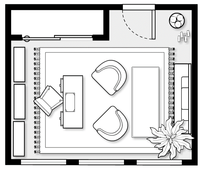 One of our preliminary layouts for the office of the Real Simple Idea Home
