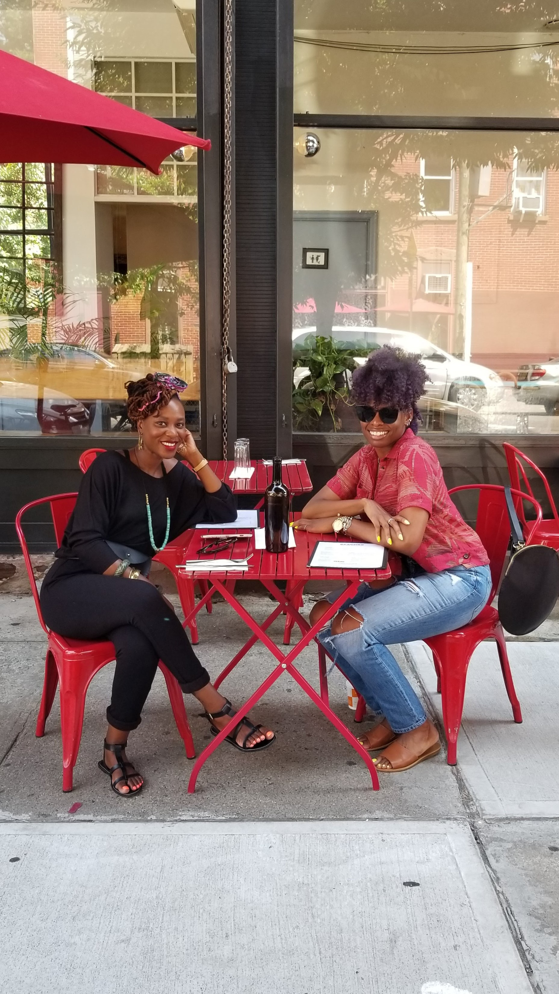 Shavonda and me. Pic taken by the sweet owner of Peaches, Shrimp & Crab