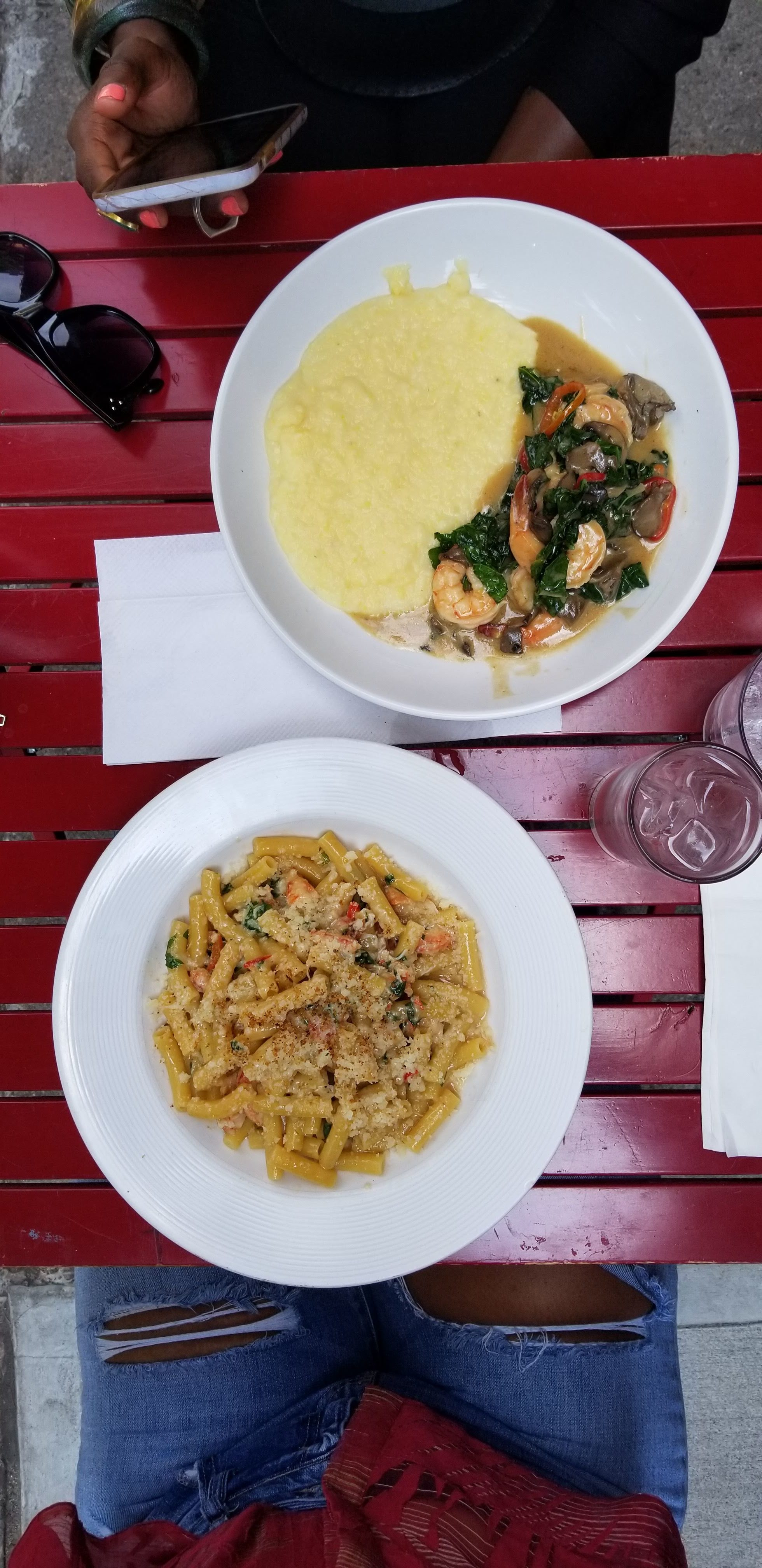 """Shrimp and Grits & Blue Crab """"Spaghetti"""" from Peaches, Shrimp & Crab"""