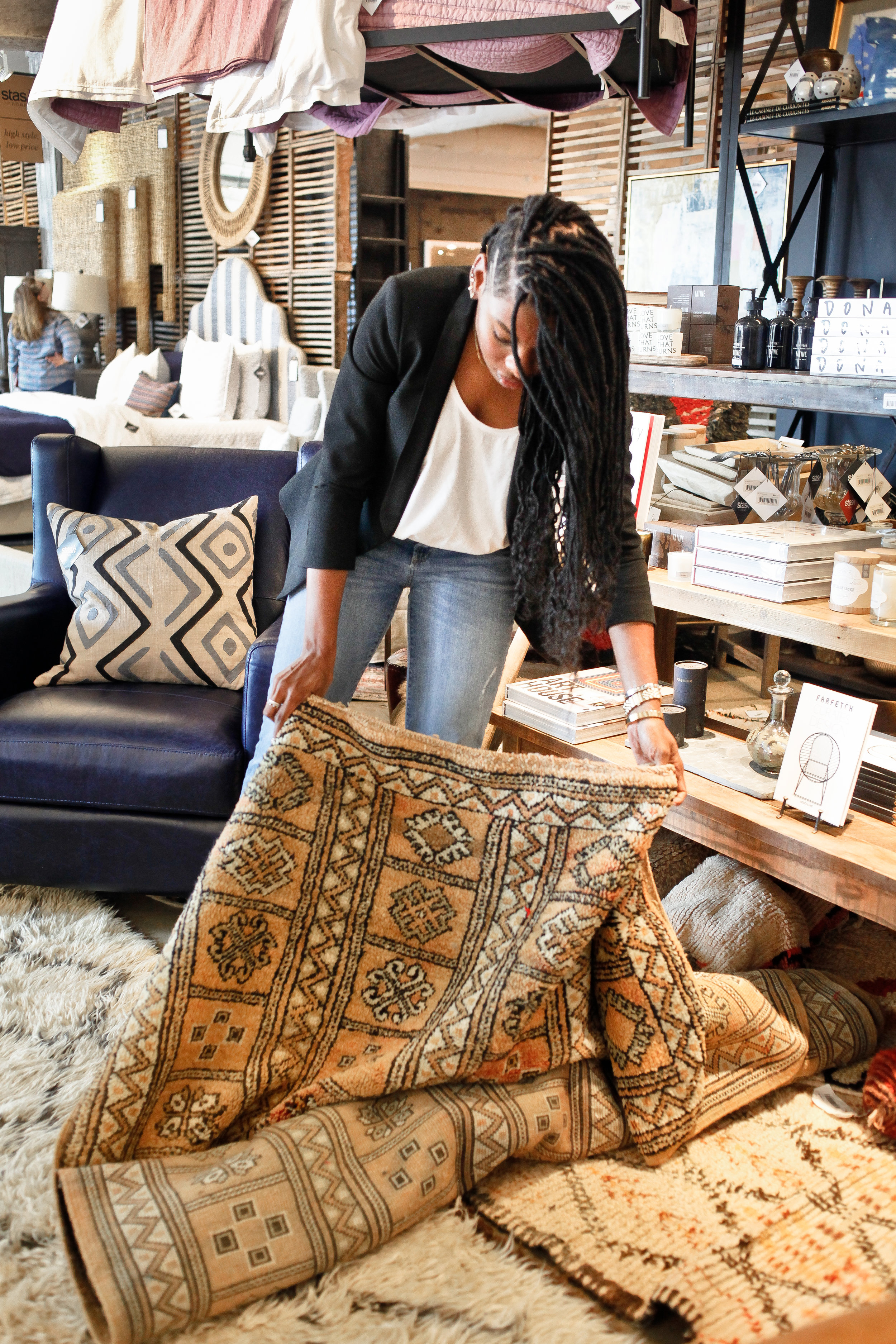 The one-of-a-kind rugs are a fav and keep me coming back. The selection is ever changing so you have to jump on things quickly!