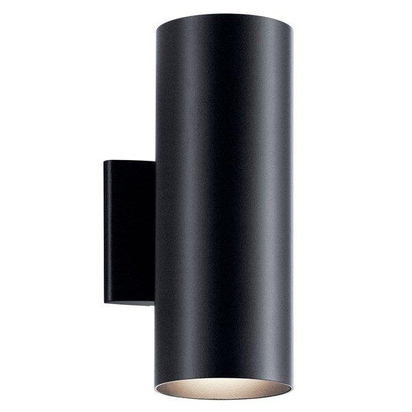 """KIchler 12"""" 2-light Cylindar Wall Light in Matte Black"""