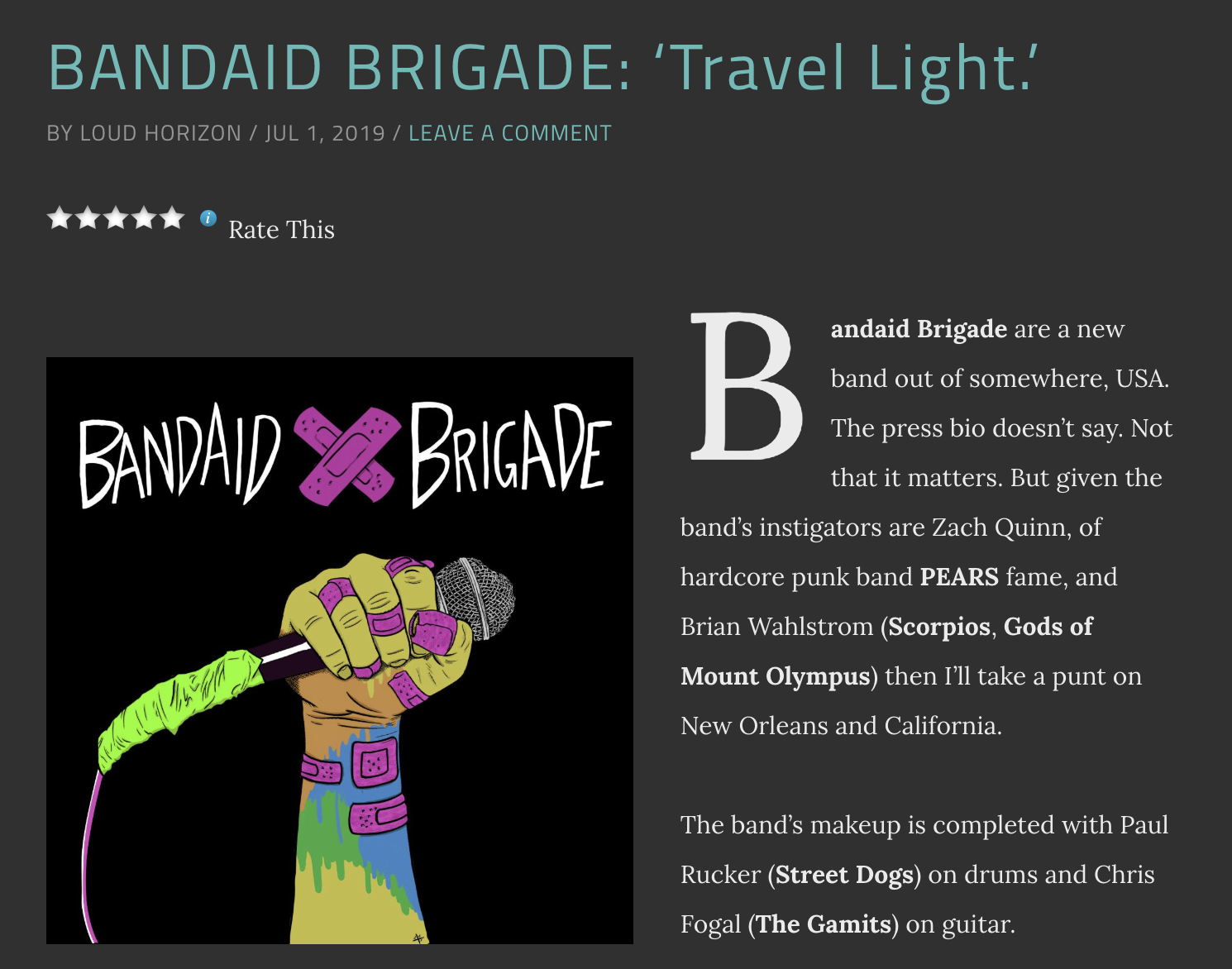 bandaid brigade travel light review