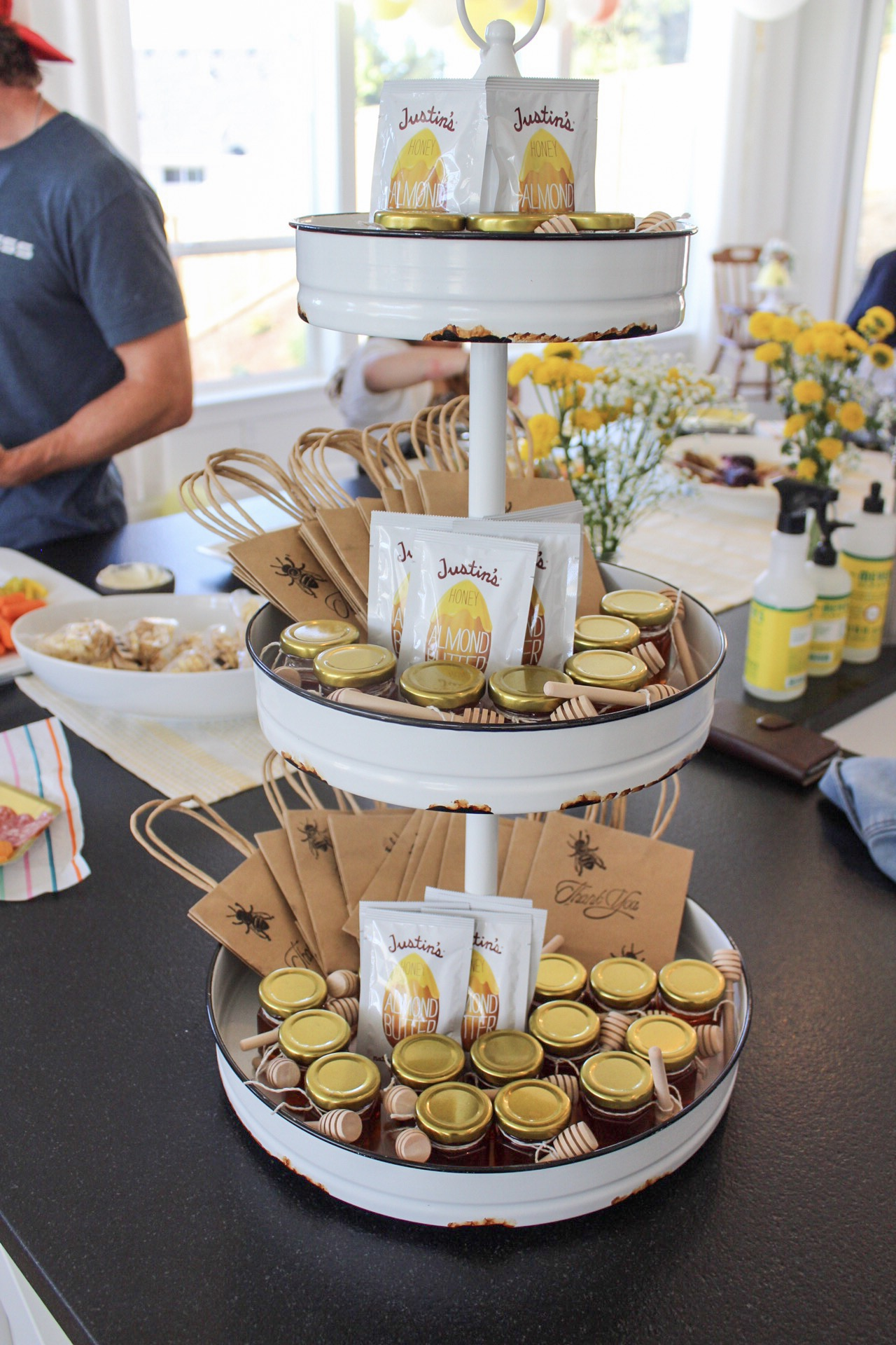 Almond butter and honey party favors.