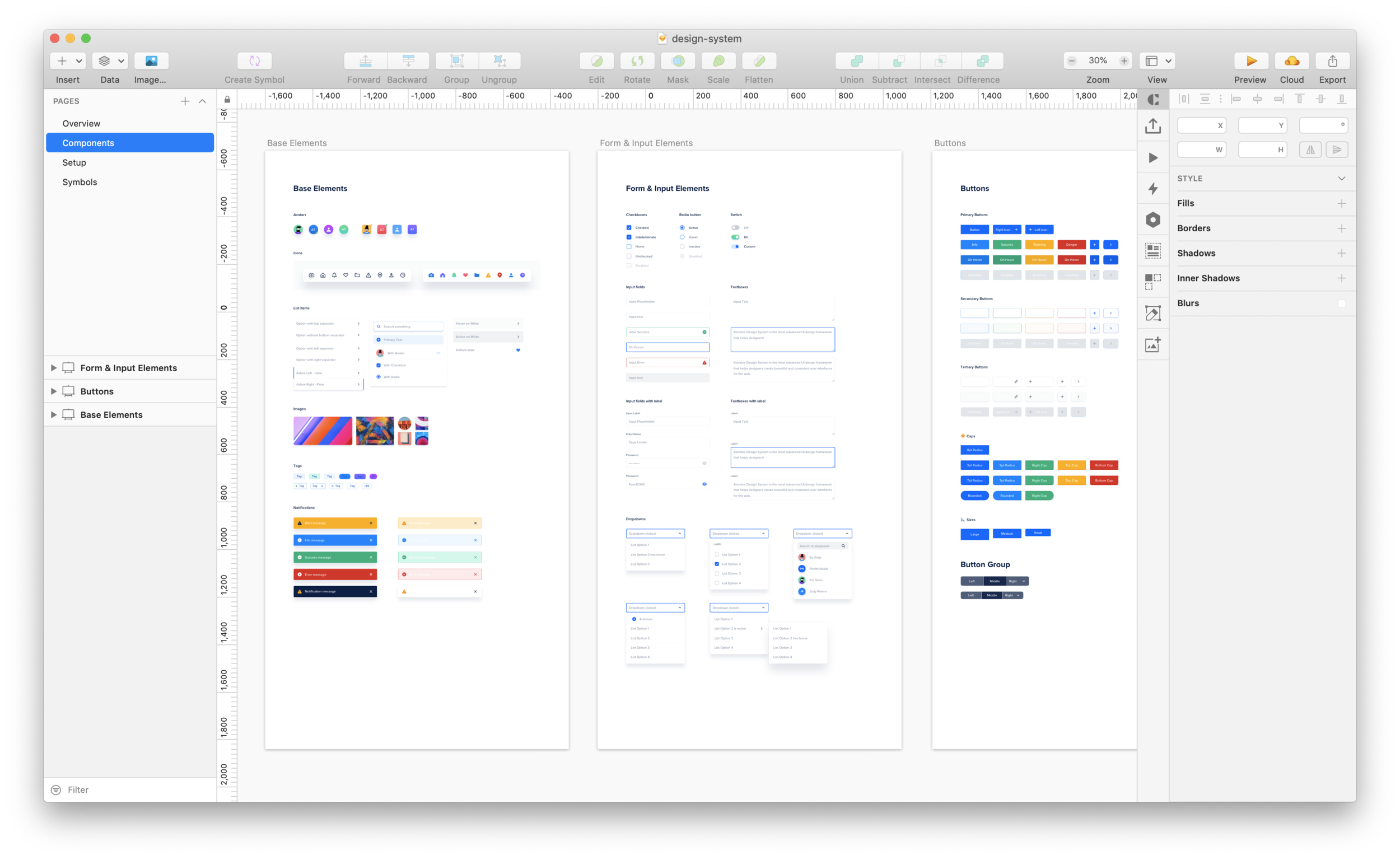 A design system in Sketch