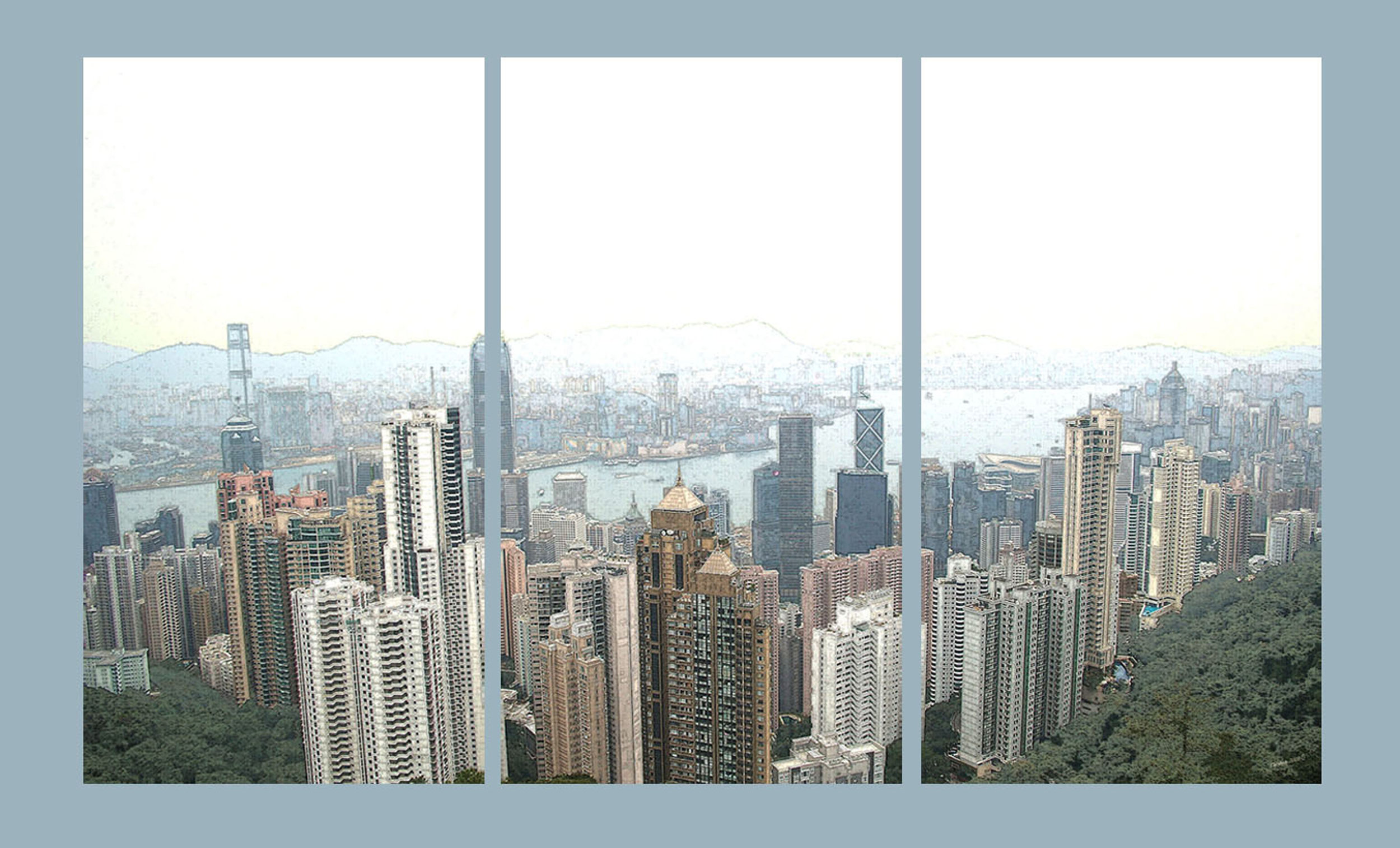 'Misty Day' - Triptych Victoria Harbour (from the Peak) Hong Kong  Pen and Ink Conversion - fine canvas