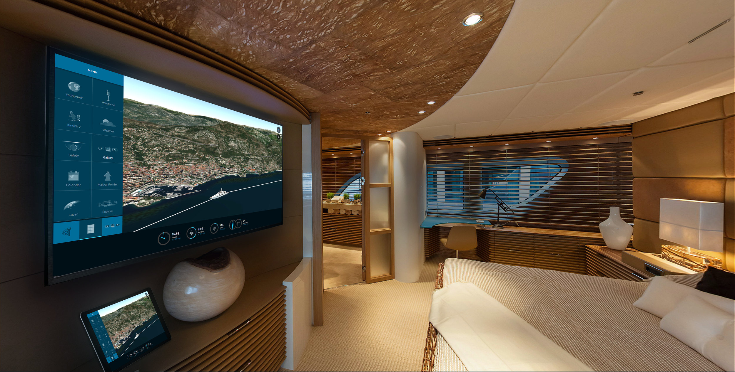 Yacht information in bedroom Yacht