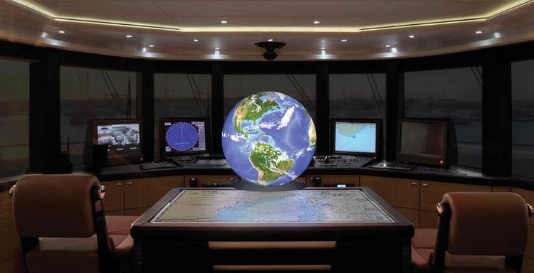 4K globe with data visualisation on the bridge