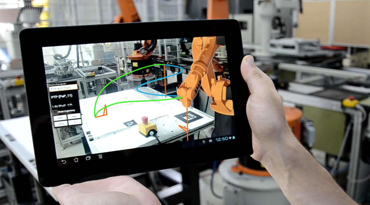 Exemplarische Videos zu AR-Simulation und-steuerung von  Industrierobotern  und  mobilen Robotern .