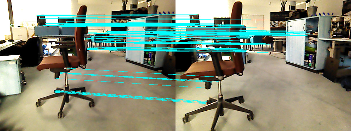 Detection of same object points in successive images enables to reconstruct the camera movement between the two images.