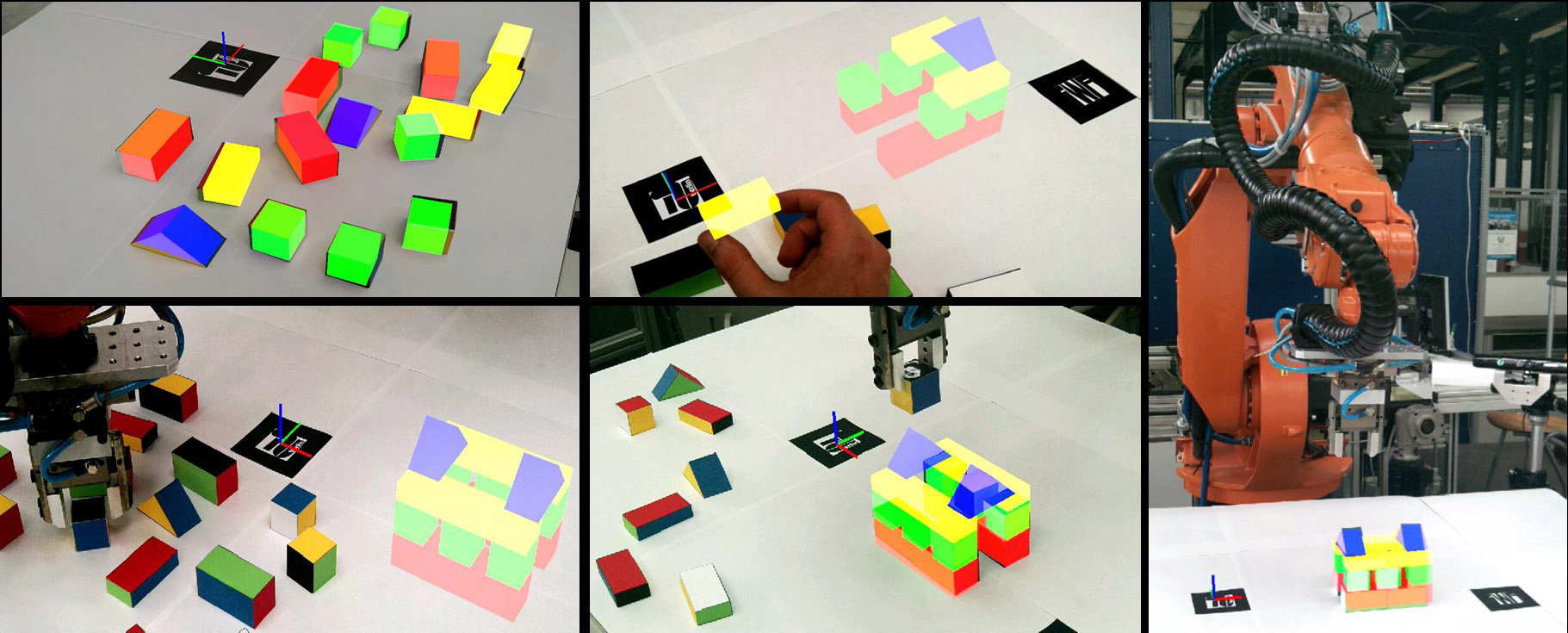 Visualization of the initial scene (top left), the translation process of individual workpieces by demonstration (top center), the execution of the task by the real robot (bottom left and center) and completion of the task (right)