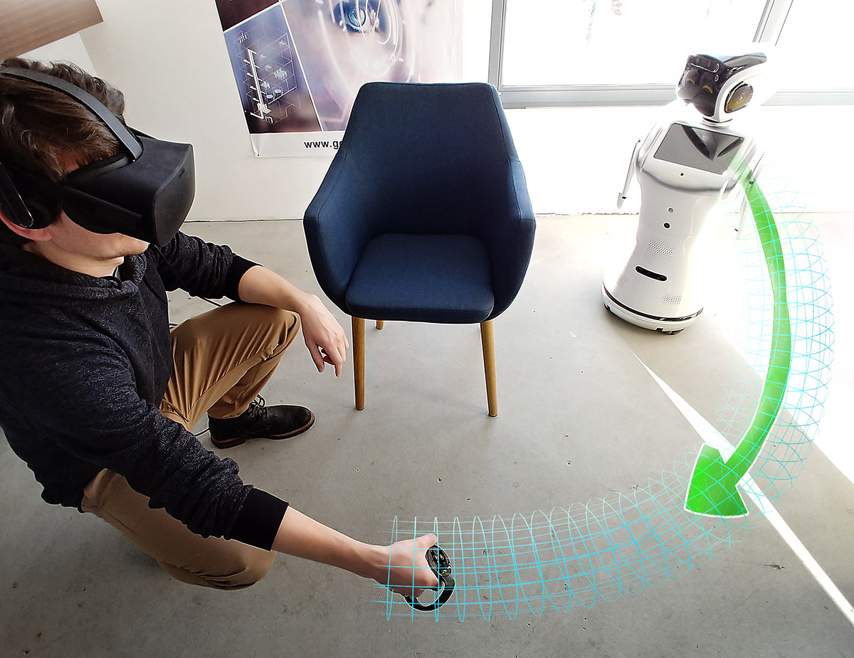Illustration of the abstract visualization in VR, which is being delivered by the mobile robot in real-time