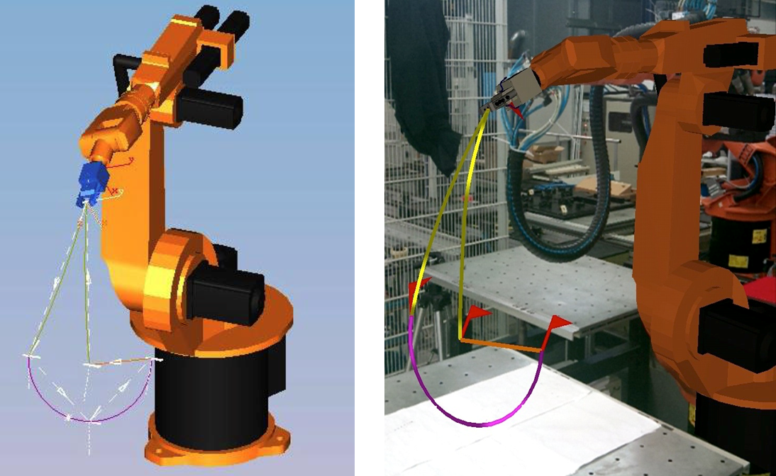 Virtual robot and same trajectory in VR (left) and AR (right)