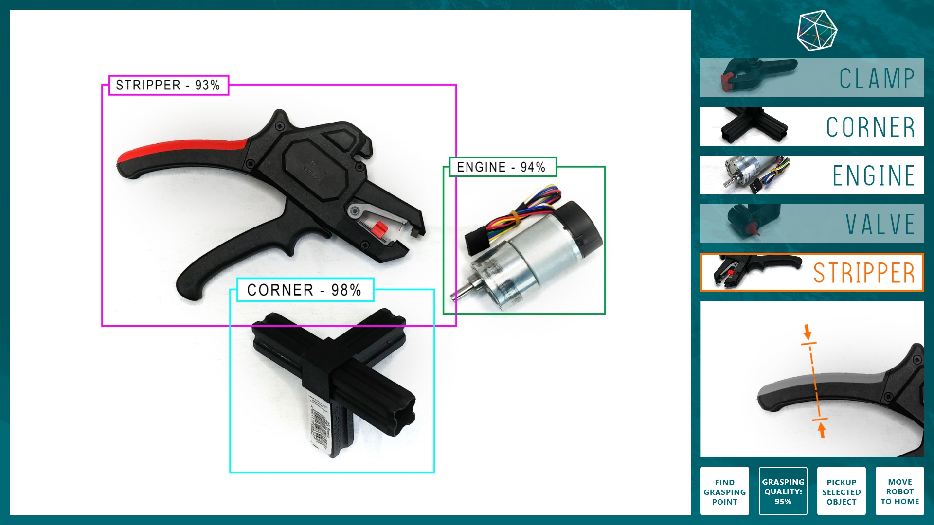 Intuitive user interface for manipulation and interaction, in this case selecting an object to be picked up and reviewing the grasping point