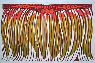 Hula Skirt tea towel 2005