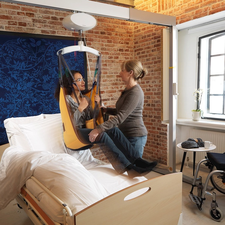 Effective and thoughtful lifting - The Guldmann hoists, provided by KnR Medical Supplies, can be specifically configured to suit the space being fitted out, from a domestic situation to larger care facilities and hospitals.