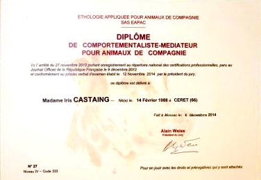 - Comportementaliste-médiateur pour animaux de compagnie - Diplôme reconnu par l'Etat (2014)Certificat de capacité pour l'exercice des activités liées aux animaux de compagnie n°05067 (2013)Monitorat d'éducateur canin 1er degré délivré par la Société Centrale Canine (2012).