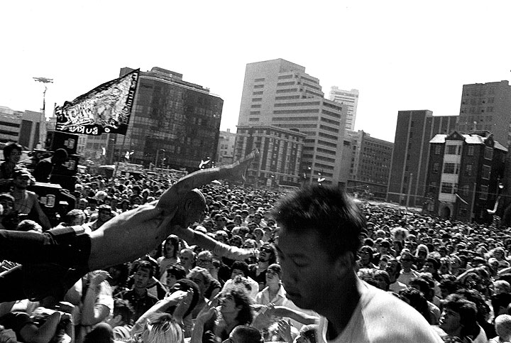Crowd at Rock Against Reagan Concert, outside Moscone Center, July 18, 1984 (Photo: Keith Holmes)