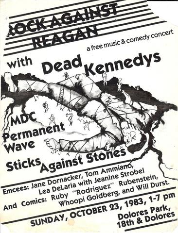 Poster for Rock Against Regan, Dolores Park, Oct. 23, 1983