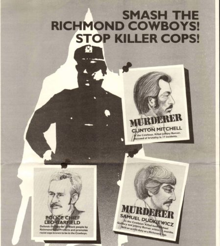 Poster protesting the activities of the Cowboys, a gang of violent racist cops operating within the Richmond CA Police Department, circa 1983